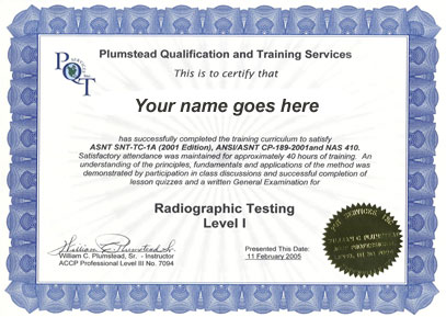 pqt services offers ndt training classes in pt mt rt ut vt and